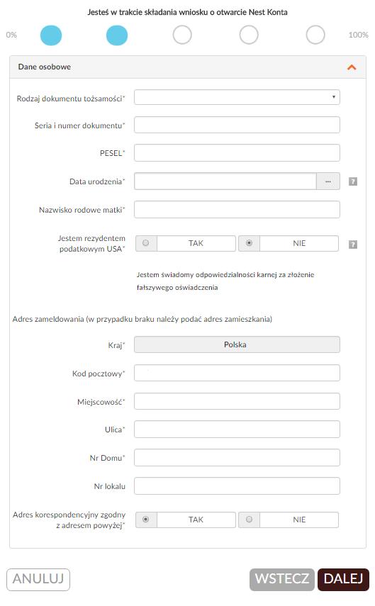 Jak założyć konto w banku przez internet - 2 etap wniosku