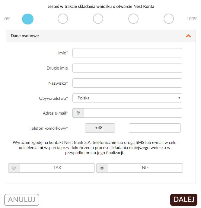 Jak założyć konto w banku przez internet - uzupełnianie podstawowych danych