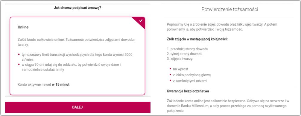 Konto przez internet bez kuriera w Millennium Banku