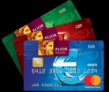 Alior Kantor - karty walutowe USD - GBP - EURO